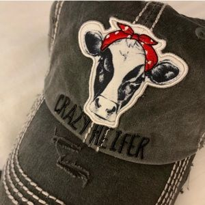 Accessories - Crazy Heifer distressed gray hat red bandana NWT